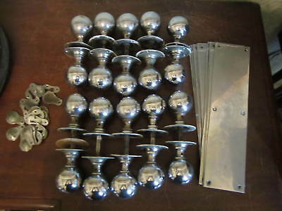 10 pairs of Art Deco chrome door knobs - matching finger plates and escutcheons