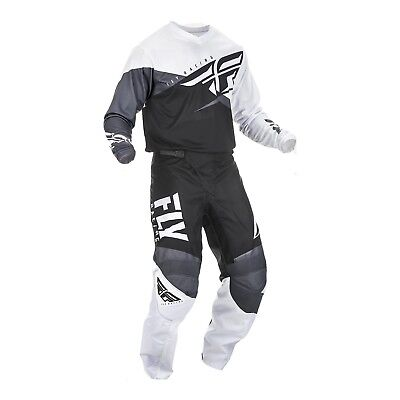 New 2019 FLY YOUTH F-16 MX Pant and Shirt Kit Combo Black/White/Grey
