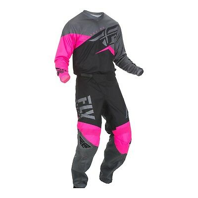 New 2019 FLY YOUTH F-16 MX Pant and Shirt Kit Combo Neon Pink/Black/Grey
