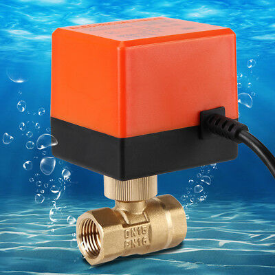 Electric Motorized Ball Valve AC220V 1/2''-1'' DN15-25 2 Way 3 Wire Brass