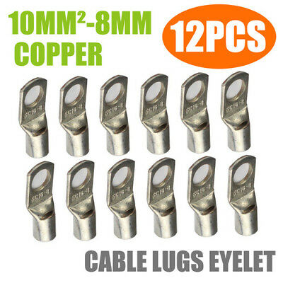 12Pcs 10mm²-8mm Cable Lug Terminal Connector Ring Wire Crimp Non-Insulated Kit