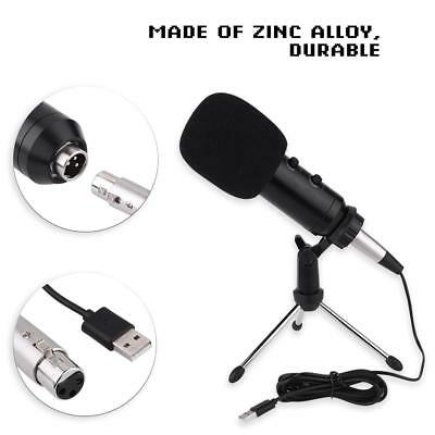 USB Reverb Condenser Microphone PC Studio Recording MIC with Tripod Stand Holder