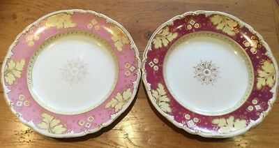 Antique English Porcelain Two Plates C.19thC  Pink / Burgundy Red Yellow Gilded
