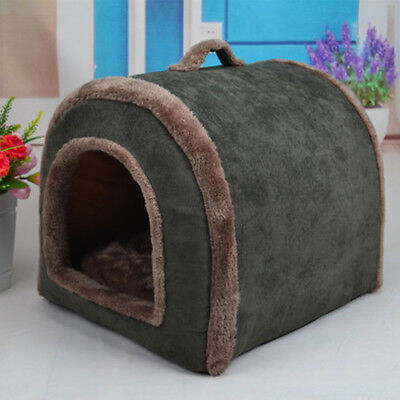 New Pet Dog Puppy Kennel House Cave Velvet Cat Dog Indoor Nest Bed Cushion F
