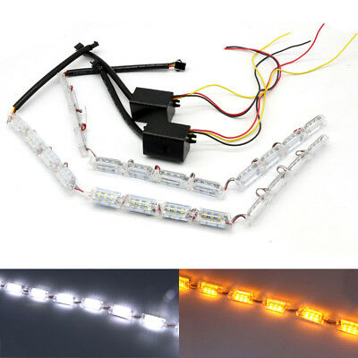 UK 2x 8/12/16 LED White Amber Car Daytime DRL Strip Light Turn Signal Lamp Light