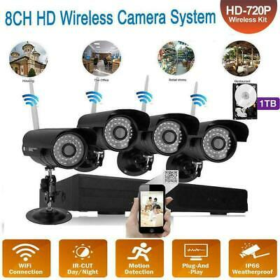 8CH HD Wireless NVR IR-CUT Wifi Camera Home Security System Motion Detect +1TB