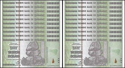 20 PCS x ZIMBABWE 50 TRILLION UNC 2008 AA UNCIRCULATED AUTHENTIC NOTE
