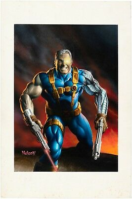 1995 Nelson DeCastro Fleer Marvel Masterpieces CABLE Trading Card ORIGINAL ART