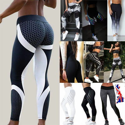 Women Yoga Pants Ladies Fitness Leggings Gym Exercise Sports Trousers Jogging UK