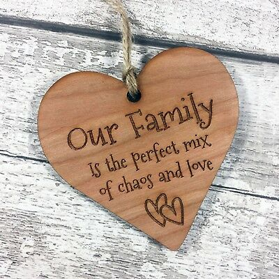 Family Home Plaque Novelty Gift Hanging Wood Heart Funny Our Family Mum Keepsake