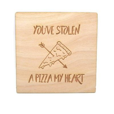 Pizza My Heart - Wood Card - Unique/Funny Gift/Valentines/Anniversary/Love/Cute