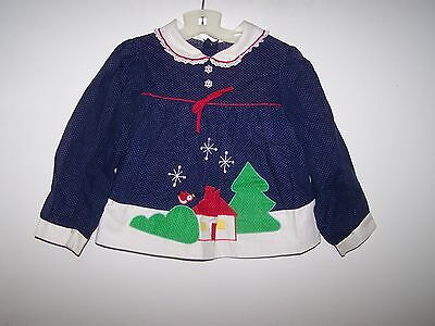 Vintage Baby Girl Blue/white With White Dots Winter Scene Dress (For Large Doll)