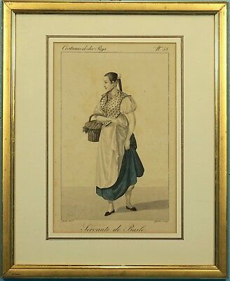 Antique Hand Colored Etching Serving Girl Maid Bern Costume Gatine Sclupt 1820s