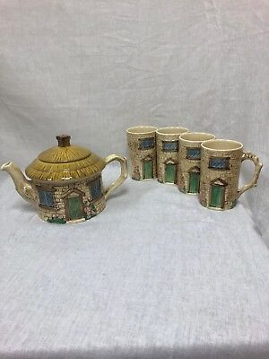 Sylva Ceramics England Thatched Cottage Teapot #4809 And 4 Cups All Stamped