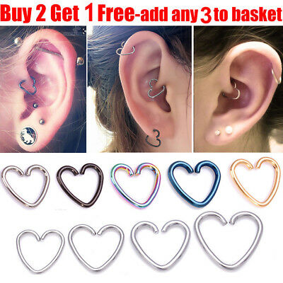 UK Surgical Steel Helix Cartilage Ring Hoop Tragus Daith Ring Hoop Heart Earring