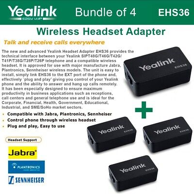 Yealink EHS36 4-PACK IP Phone Wireless Headset Adapter Plug and Play