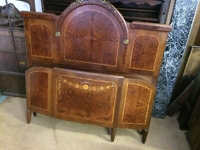 Lovely French Art Deco Ormolu Mounted Burr Walnut And Mahogany Inlaid King Bed