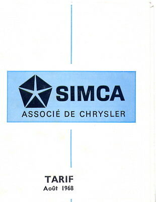 Catalogue prospekt brochure tarif Simca 08.1968 millésime 1969