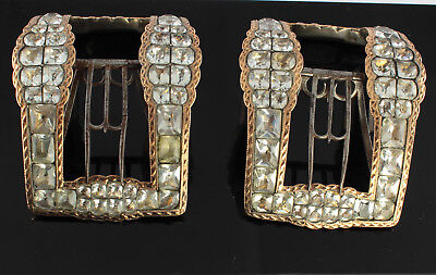 Large Antique Georgian Sterling Silver And Paste Stones Shoe Buckles c 1780's