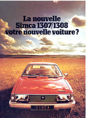 Catalogue prospekt brochure Simca 1307/1308 Belgique 1975