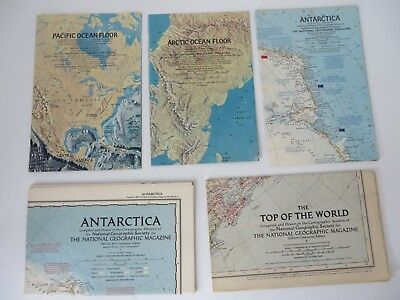 Vintage National Geographic Map Lot of 7 Oceans and Polar Regions #8583