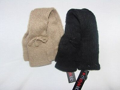 New MStyleLab Women's Fingerless Long Elbow Length Gloves With Bows Black Tan
