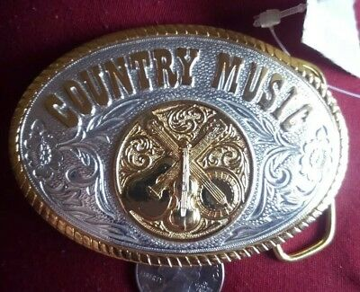 """The Heritage Collection Silver Gold Tone """"Country Music"""" Belt Buckle 4"""" x 2 1/2"""""""