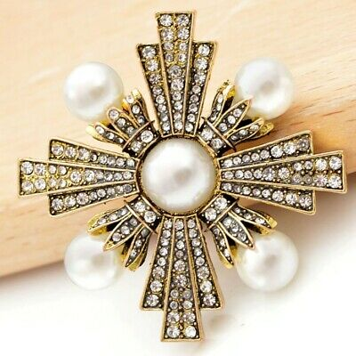 High End Gold & PEARL Maltese CROSS Clear Rhinestone Brooch Retro Vintage Style