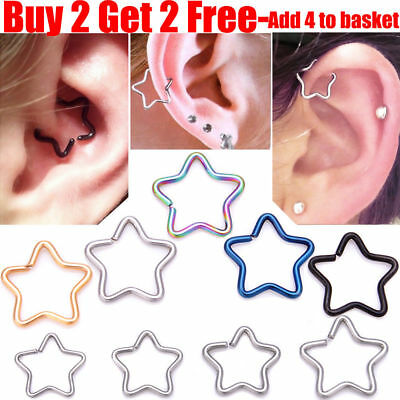 UK Surgical Steel Star Daith Ring Helix Ring Cartilage Tragus Ring Hoop Earring