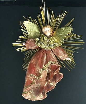 Christmas Ornaments Angels Ceramic Head & Arms Flexible Fabric Body Gold Tinsel