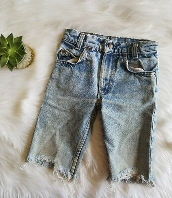 vtg 70s Little Levis Denim cut offs Jeans Orange Tab Baby Toddler Sz 7    /DC