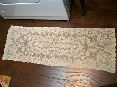 """VINTAGE ANTIQUE CREAMY WHITE FRENCH ALENCON LACE RUNNER 43"""" lovely"""