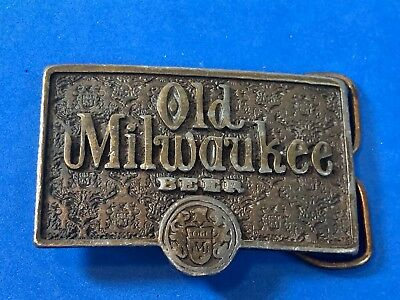 Vintage Old Milwaukee Beer Advertising Emblem Logo Belt Buckle