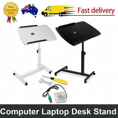 Adjustable Computer Mobile Laptop Desk Stand Bedside Table USB CoolerFan PC iPad