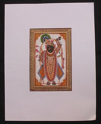 Old Vintage Original Cloth Painting God Shri Nath Water Color Hand Painting