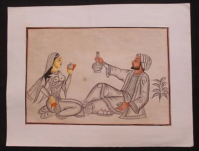 Indian Vintage Original Mughal King & Queen Water Color Hand Painting