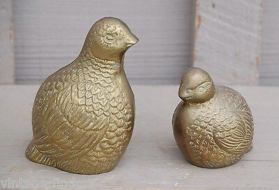 Old Vintage Pair of Brass Quail Figurines Paperweights Home Shelf Mantel Decor