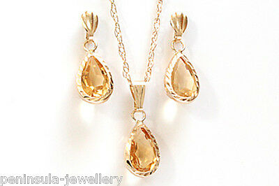 9ct Gold Citrine Teardrop Pendant Necklace and Earring Set Made in UK Gift Boxed