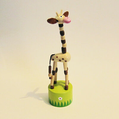 LAST ONE! Classic Wooden Toy Push Puppet GIRAFFE Grassy Base TALL! Brown 6-1/2""