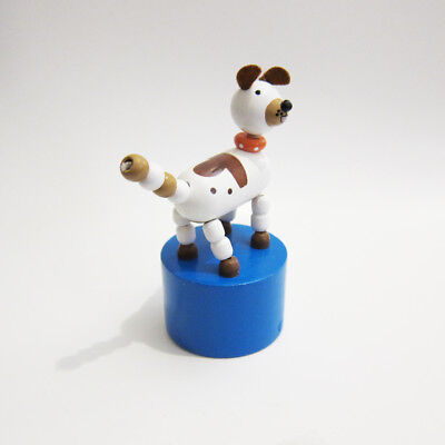 LAST ONE! Classic Wooden Toy Push Puppet Spotted Brown & White Dog Pet Felt Ears