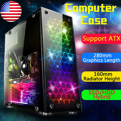 USB3.0 Gaming Computer Case Cover Side Translucent 4 Fans Chassis For ATX Micro