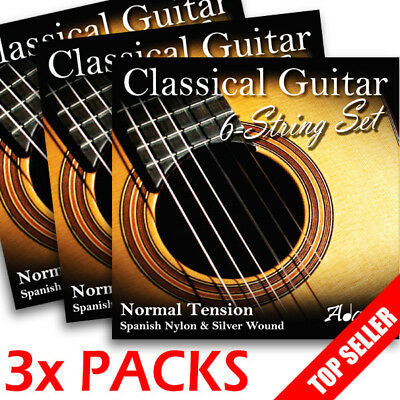 3 PACKS - Adagio Classical Guitar Strings Regular Tension Tie End Sets
