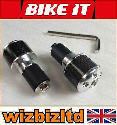 Motorbike Genuine Carbon Bar Ends with Chrome (Fit 17mm to 25mm Bars) - BEWCOLCH