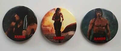 """Rambo Pinback """"First Blood Part 2"""" 2 1/4"""" diameter new button Sylvester Stallone"""