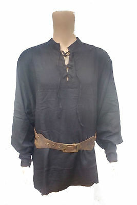 "Shirt Viscose Pirate LARP Medieval Reenactment Black and White upto 55"" chest"