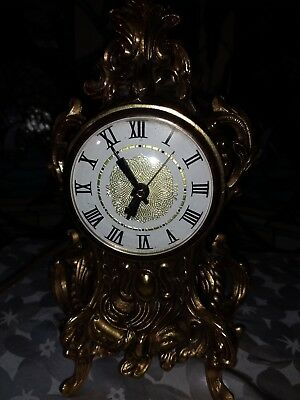 Vintage Gold Gilt Ornate Electric Mantle Clock Movement by Lanshire - Works