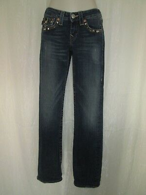 True Religion Womens 28 Dark Blue Wash Denim Straight Leg Metal Stud Jeans Pants