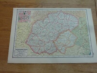 1920c ORIGINAL HARMSWORTH'S ATLAS MAP SHEET & INFO SOUTH AFRICA 17 PAGES