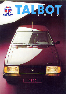 Catalogue prospekt brochure Talbot Simca 1510 modèle 1982