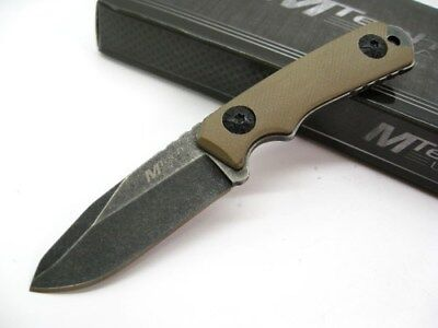 Mtech Tan G10 Tactical Full Tang Fixed Stonewashed Neck Knife +  Kydex Sheath